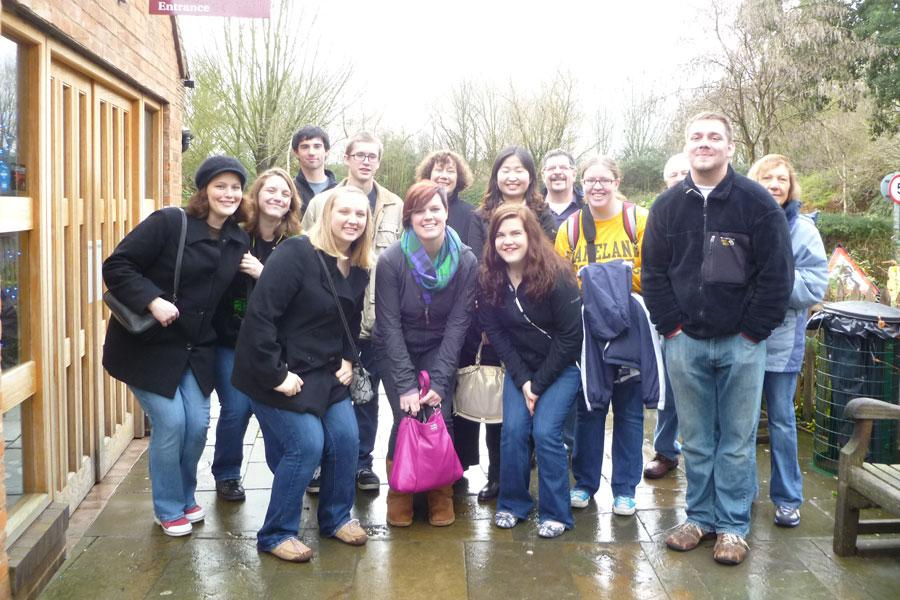 The Lakeland tourists assembled for a group picture after visiting the cottage of Shakespeare's wife, Anne Hathaway.