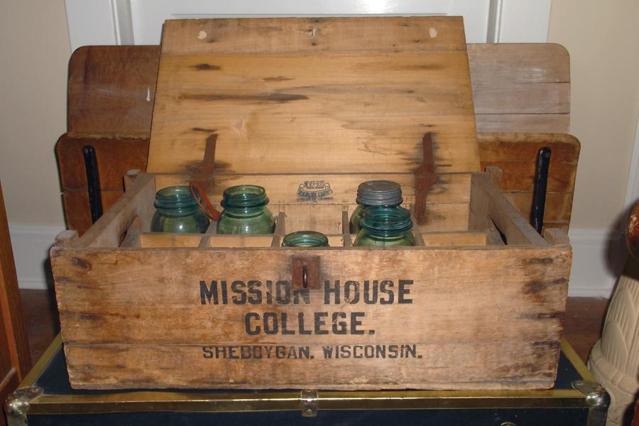In the early years of the college, jars were taken to local churches to be filled with food for the men of Mission House.