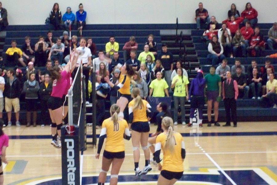 Muskie+women+hold+back+their+opponents+at+a+recent+volleyball+game+at+the+Wehr+Center.