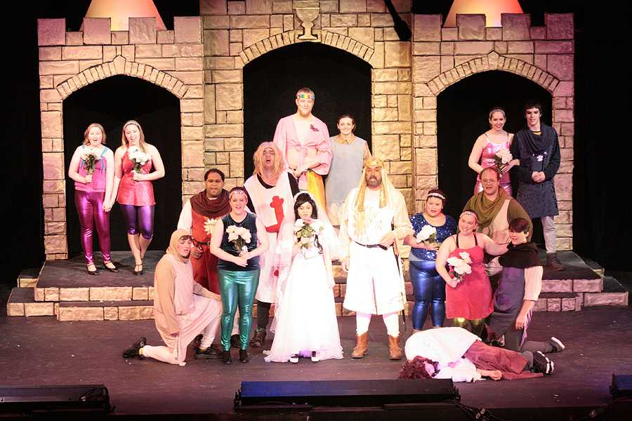 King+Arthur%2C+played+by+grad+student+Allan+Fett%2C+and+the+Lady+of+the+Lake%2C+freshman+music+and+psychology+major+Brittney+Koerner%2C++are+wed%2C+ending+Spamalot+the+musical.