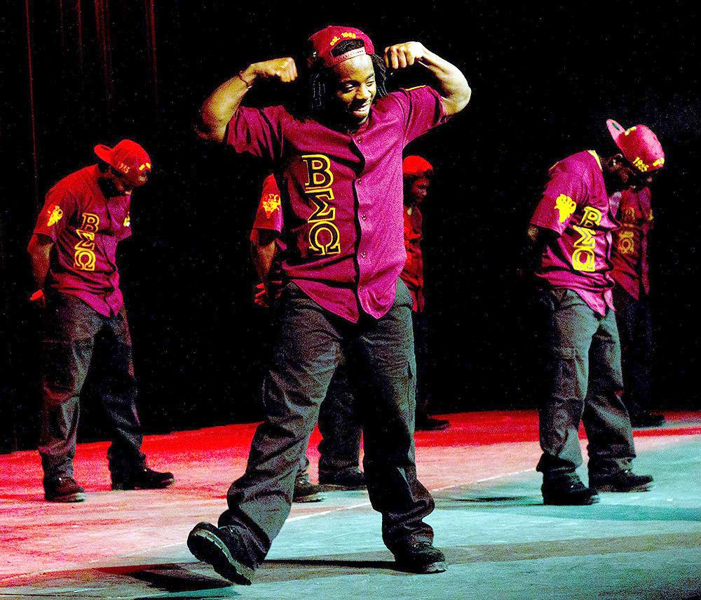 Marvin Warfield, a member of Beta Sigma Omega, performs in the group's step show.