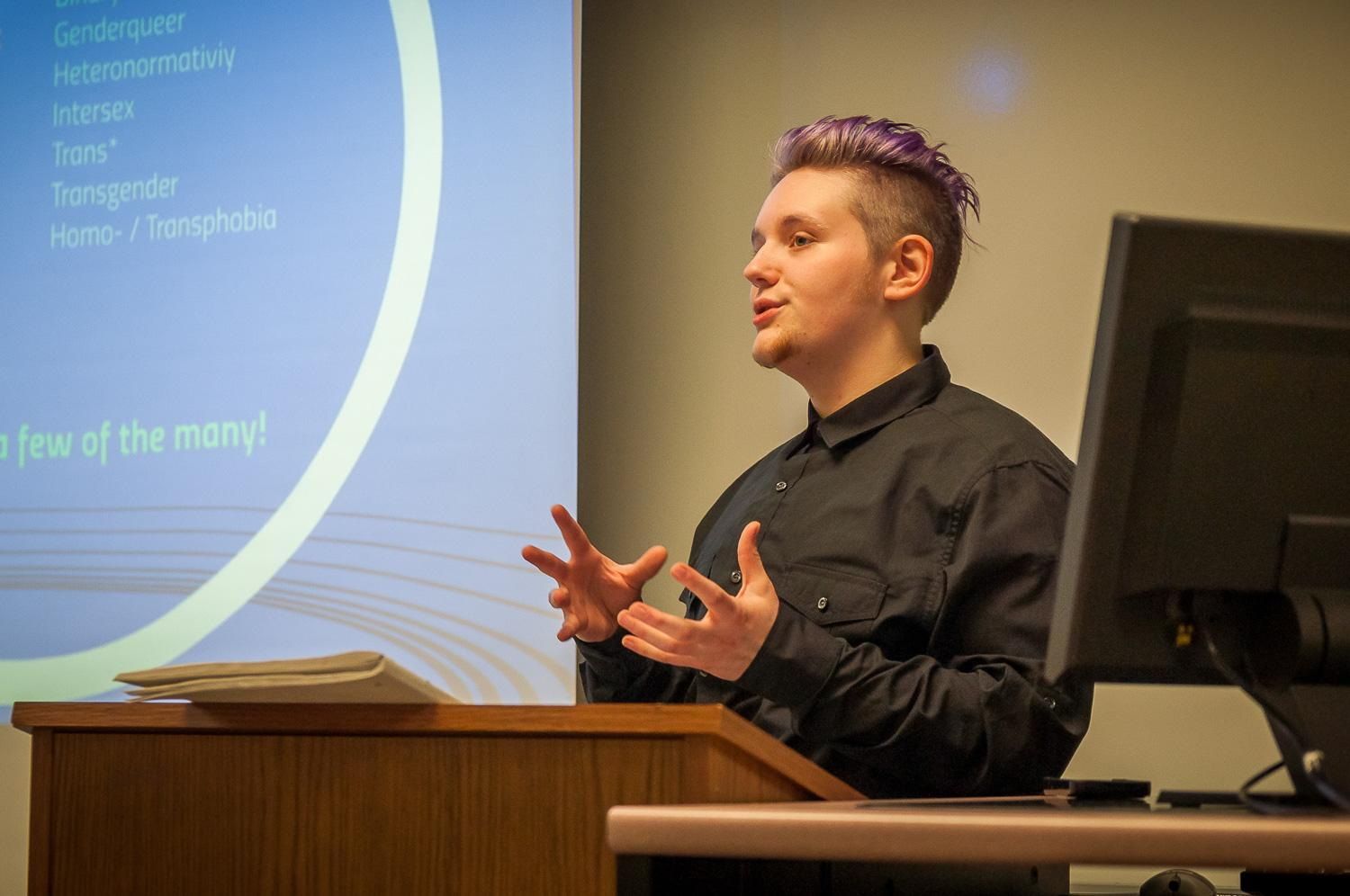 Alister Kohls, junior sociology major, spreads awareness about LGBTQ+ experiences.