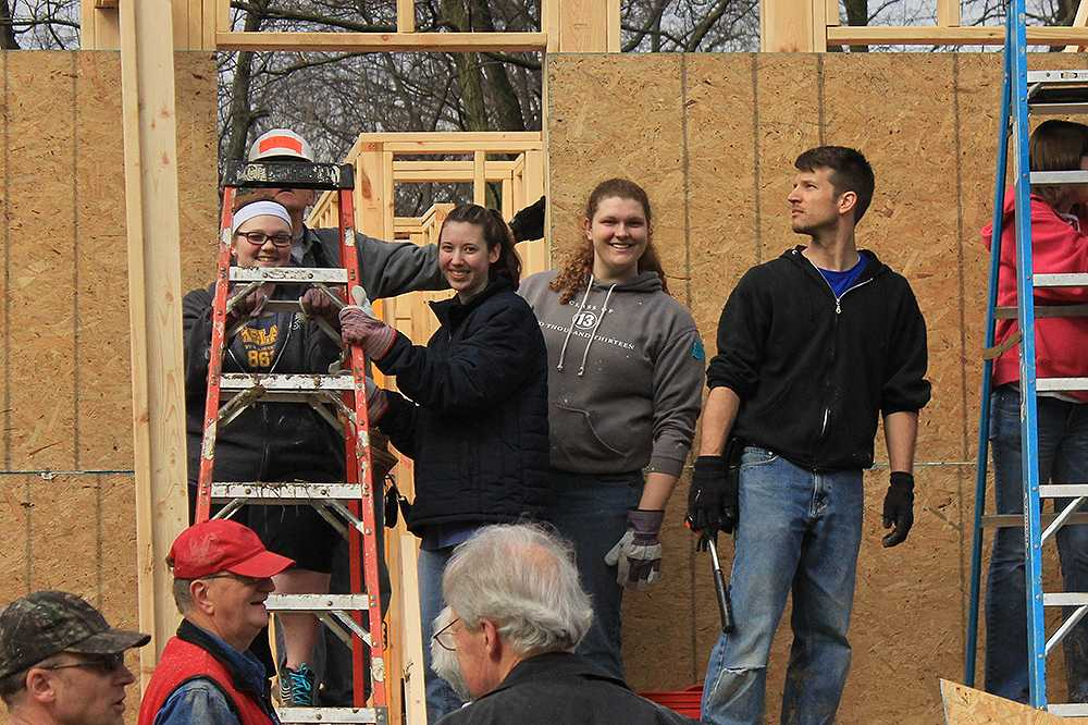 Nine students helped at a build site in Kentucky during spring break.