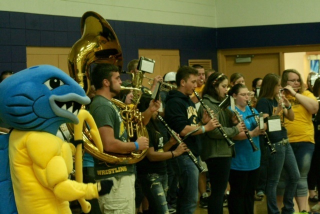 Musko cheers on the Lakeland College band at the tailgate performance on Sept. 26, 2015.