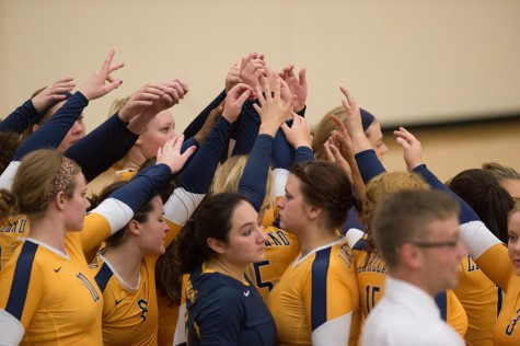 Women's volleyball digs up win