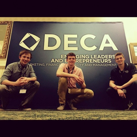 Seth, vice president and operations director for Glanzair, Alex Whitt, vice president and sales manager for Glanzair and freshman business major and communications minor, and Austin Glanzair, CEO and founder of Glanzair, pose together at a market association, DECA, conference.