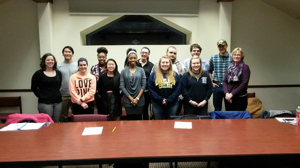 The members of the Foundation Board are eager to help students and various organizations with funding. Front row: Whitney Diedrich(success coach), Brooke Corrigan (Jr, biology), Lucy Anschutz (Fr, undecided), Martesia Neal (So, exercise science), Michele Marquardt (Sr, Math and computer science), Megan Hartke (Sr, Math and accounting), Linda Bosman (staff). Back row: Sho Sean Fujino (Sr, International Business), me, Jessica Luecke (Sr, Accounting and Spanish minor), Rainger Rossway (Jr, Computer Science), Brent Singh Sharkey (Fr, Computer Science), Frederick Meyer (Fr, Criminal Justice). Not shown, Bill Weidner (staff).