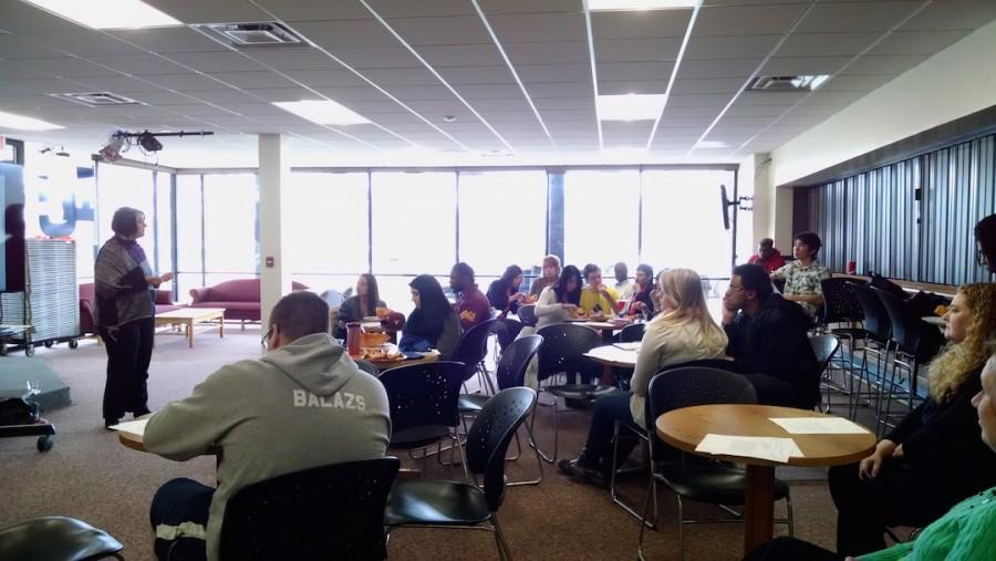 Lakeland students learn about interviewing tips from Jodie Baus, director of human resources at The Osthoff Resort.