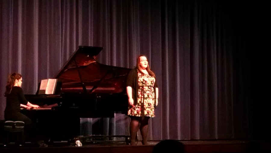 Tia Pribbernow, senior general and choral music education major performs with Elisabeth Daniels, adjunct instructor of music.