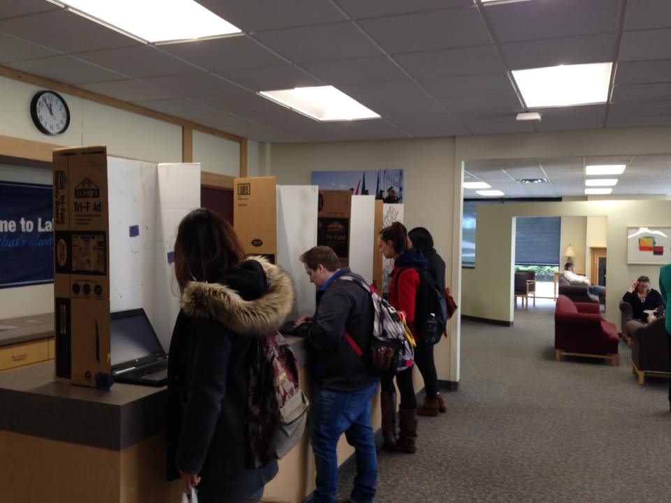 Student voters at the polls for last week's Student Government Association election.