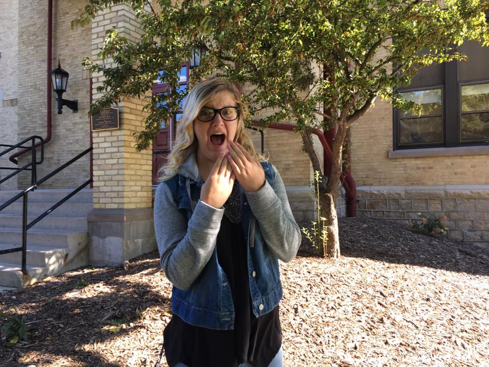Alexia Samsal, sophomore psychology major, is shocked when she finds out there have been clown sightings on campus.