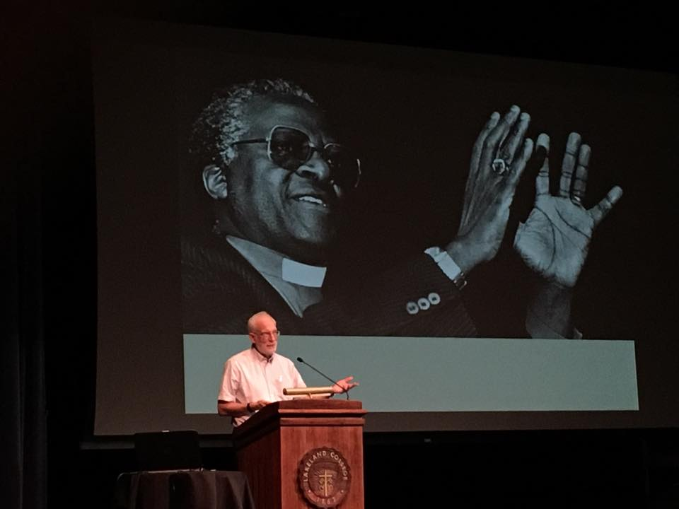 Rev. Phil Haslanger presents about loving in a time of resentment at Tuesday's Mission House lecture.