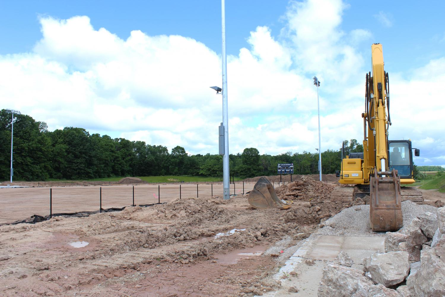 Construction on the new outdoor athletic facility continues.