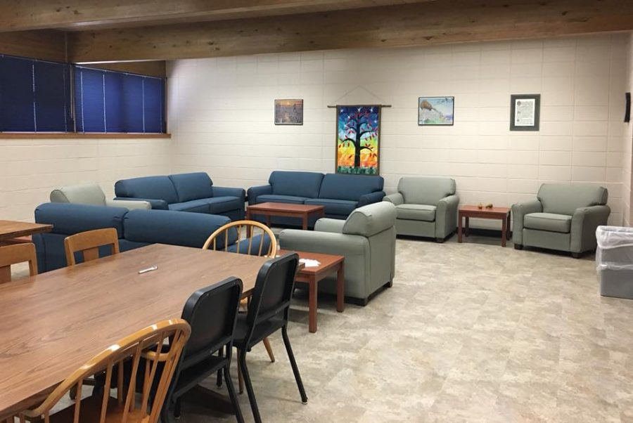 The lounge in the basement of Ley Chapel.