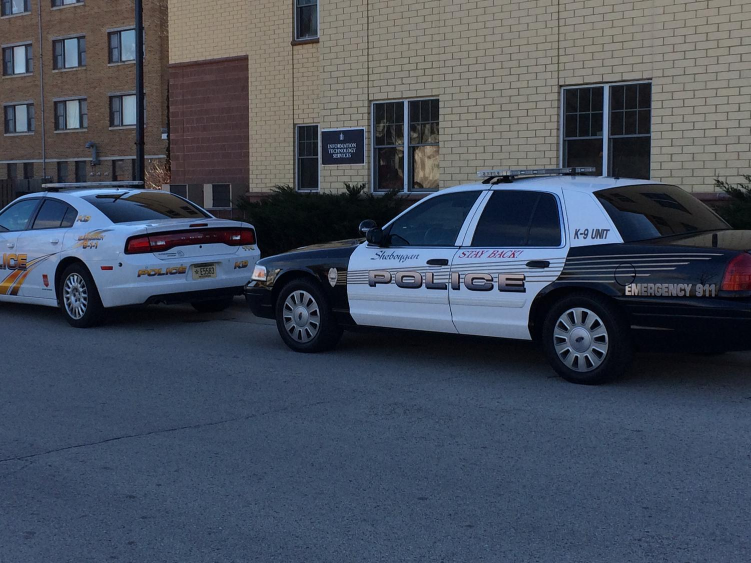 Law enforcement vehicles stationed at Lakeland on the morning of Dec. 6.